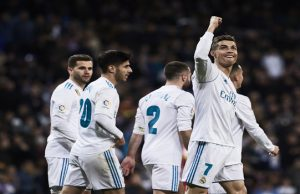 MADRID, SPAIN - MARCH 18: Cristiano Ronaldo of Real Madrid CF celebrates scoring their third goal with teammates during the La Liga match between Real Madrid CF and Girona FC at Estadio Santiago Bernabeu on March 18, 2018 in Madrid, Spain. (Photo by Gonzalo Arroyo Moreno/Getty Images)