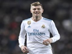 Real Madrid's German midfielder Toni Kroos celebrates after scoringduring the Spanish league football match between Real Madrid CF and Real Sociedad at the Santiago Bernabeu stadium in Madrid on February 10, 2018. / AFP PHOTO / GABRIEL BOUYS (Photo credit should read GABRIEL BOUYS/AFP/Getty Images)