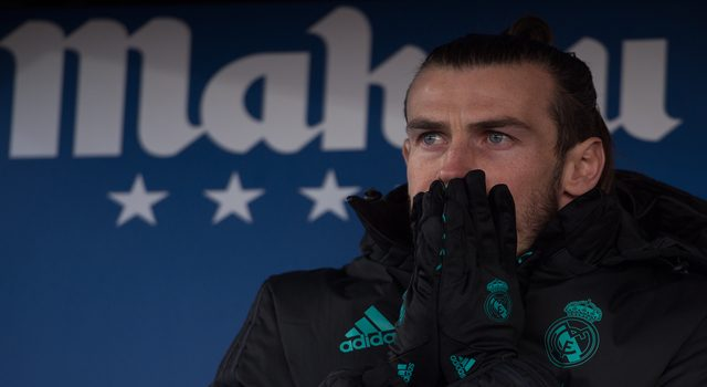 LEGANES, SPAIN - FEBRUARY 21: Gareth Bale of Real Madrid looks out from the substitutes bench for the La Liga match between Leganes and Real Madrid at Estadio Municipal de Butarque on February 21, 2018 in Leganes, Spain. (Photo by Denis Doyle/Getty Images )