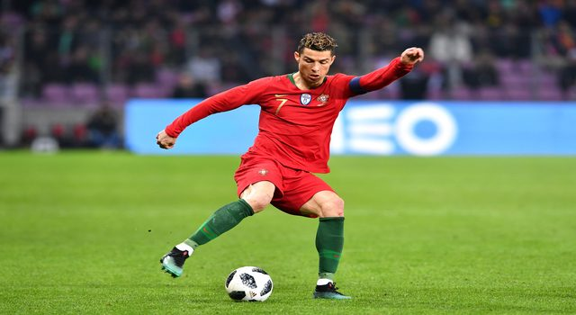 GENEVA, SWITZERLAND - MARCH 26: Cristiano Ronaldo of Portugal during the International Friendly match between Portugal v Netherlands at Stade de Geneve on March 26, 2018 in Geneva, Switzerland. (Photo by Harold Cunningham/Getty Images)
